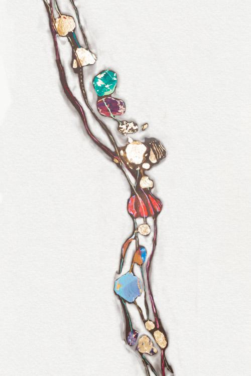 Pearls Perlenkette Malerei Gold Affirmationskarte